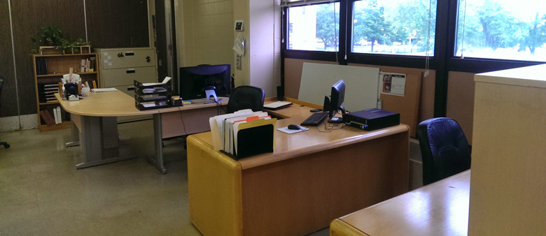 A photo of our office space with furniture donated from MB Financial Bank.